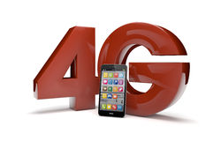 4g text. Render of the text 4g and a smartphone Royalty Free Stock Image