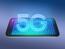 5G text on smart phone. 3D rendering image Stock Image