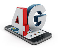 4G text on smartphone. Isolated on white background vector illustration