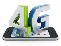 4G text on smartphone. Isolated on white background stock illustration