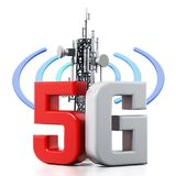 5G text and telecommunications tower with wave symbols. 3D illustration.  Stock Images
