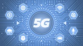 5G - 5th Generation Wireless Systems. Infographical template on the theme of `Wireless Technologies / Mobile Networks vector illustration