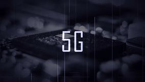 A 5G title with a microchip background and a blue color grade. Effect stock images