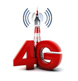 4g tower. Render of a communications tower and the text 4g Stock Illustration