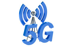 5G transmitter concept 3D. 5G wireless communication concept on White Background Royalty Free Stock Image