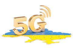 5G in Ukraine concept, 3D rendering. Isolated on white background Royalty Free Stock Photo