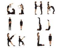 G, van H, van I, van J, van K en van L abc brieven die door mensen worden gevormd stock afbeeldingen