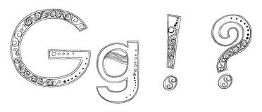 G Vandan freehand pencil sketch font Stock Photography