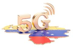 5G in Venezuela concept, 3D rendering. Isolated on white background Stock Image