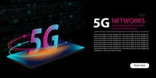 5G verbinding van netwerk de nieuwe draadloze Internet WiFi Innovatieve generatie van de Snelle internetdiensten-breedband Groot  vector illustratie