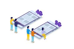 5G verbindings isometrisch concept Telecommunicatietechnologie Vector Illustratie