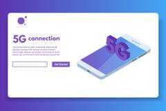 5G verbindings isometrisch concept Telecommunicatietechnologie Royalty-vrije Illustratie