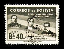 G Villarroel, V Paz Estenssoro et H Siles Zuazo, 1er anniversar Photos stock