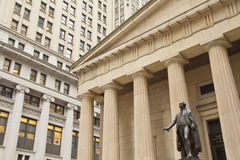 G. Washington Statue at Federal Hall. NEW YORK CITY- SEPT 18. George Washington Statue at Federal Hall, Wall Street, stands where G. Washington was sworn in as royalty free stock photo
