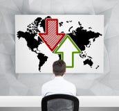 G wereldkaart met pijl stock afbeeldingen
