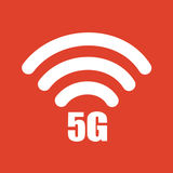 5G wifi internet icon on the red background. 5G internet icon on the red background. Vector illustration Royalty Free Stock Images