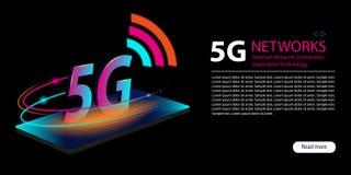 5G wifiverbinding van netwerk nieuwe draadloze Internet Innovatieve generatie van de globale Snelle internetdiensten-breedband Ne vector illustratie