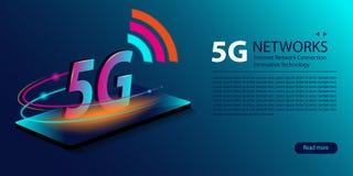 5G wifiverbinding van netwerk nieuwe draadloze Internet Innovatieve generatie van de globale Snelle internetdiensten-breedband Ne royalty-vrije illustratie