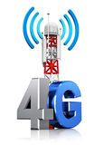 4G wireless communication concept. Creative abstract 4G digital cellular telecommunication technology and wireless connection business concept: mobile base Royalty Free Illustration