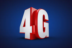 4G. Wireless communication standard 3d illustration on Blue background Stock Photos