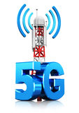 5G wireless communication technology concept. Creative abstract 5G digital cellular telecommunication technology and wireless connection business concept: 3D vector illustration