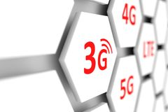 3G. Wireless internet access blurred background 3D illustration Stock Images