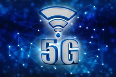 3d rendering, 5G Network, 5G Connection Concept. 5g Wireless Internet Concept in technology background. 3d render Stock Photography