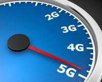 5g. Wireless network speed. 5G high speed internet concept. 3d rendering Royalty Free Stock Images
