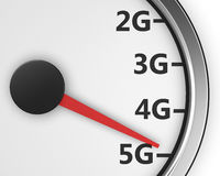 5g. Wireless network speed. 5G high speed internet concept. 3d rendering Stock Photos