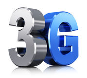 3G wireless technology logo. Creative abstract mobile telecommunication cellular high speed data connection business concept: blue metallic 3G standard wireless Stock Image