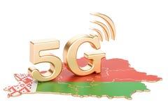 5G in Witrussisch concept, het 3D teruggeven Stock Afbeelding
