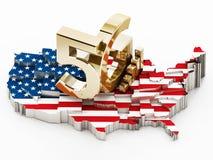 5G woord die zich op die de kaart van de V.S. bevinden met Amerikaanse vlag wordt behandeld 3D Illustratie Royalty-vrije Stock Afbeeldingen