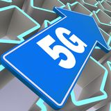 5G word with blue arrow. 3D rendering stock illustration