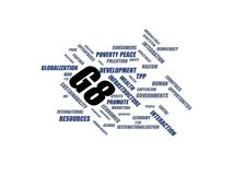 G8 - word cloud wordcloud - terms from the globalization, economy and policy environment Royalty Free Stock Photos