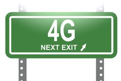 4G word with green sign board. 3D rendering vector illustration
