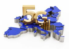 5G word standing on Europe map covered with European Union flag. 3D illustration.  stock illustration
