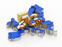 5G word standing on Europe map covered with European Union flag. 3D illustration Stock Photo