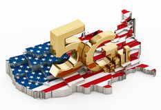 5G word standing on USA map covered with American flag. 3D illustration.  royalty free illustration