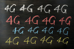 4G written with chalk Stock Photos