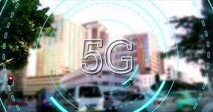 5G written in the middle of a futuristic circles 4k