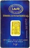 5g złocisty bar w bąbel paczce Zdjęcie Stock