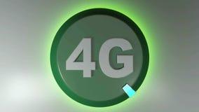 4G zieleni okręgu ikona z płodozmiennym lekkim kursorem - 3D renderingu animacja ilustracji