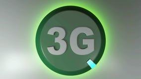 3G zieleni okręgu ikona z płodozmiennym lekkim kursorem - 3D renderingu animacja ilustracji