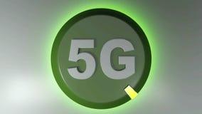 5G zieleni okręgu ikona z płodozmiennym lekkim kursorem - 3D renderingu animacja ilustracji