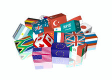 G20. 3d cube flags of The Group of Twenty Finance Ministers and Central Bank Governors, called G-20 Royalty Free Stock Image
