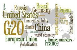 G20. Important and relevant topics regarding the G20 (the 20 largest economies on the world Stock Photos