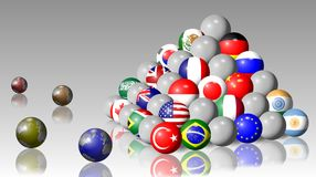 G20 pyramid. Flags of G20 members shaped as balls and forming a pyramid Stock Photography