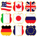 G8. Vector collection of group of eight flags Royalty Free Stock Photography
