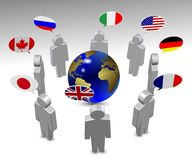 G8 language. Members of G8 group in a circle speaking in their own language Royalty Free Stock Image