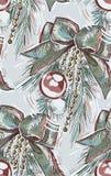 Gałąź łęku bożych narodzeń nowego roku błękita balowych menchii bezszwowa deseniowa farba textured wektor royalty ilustracja